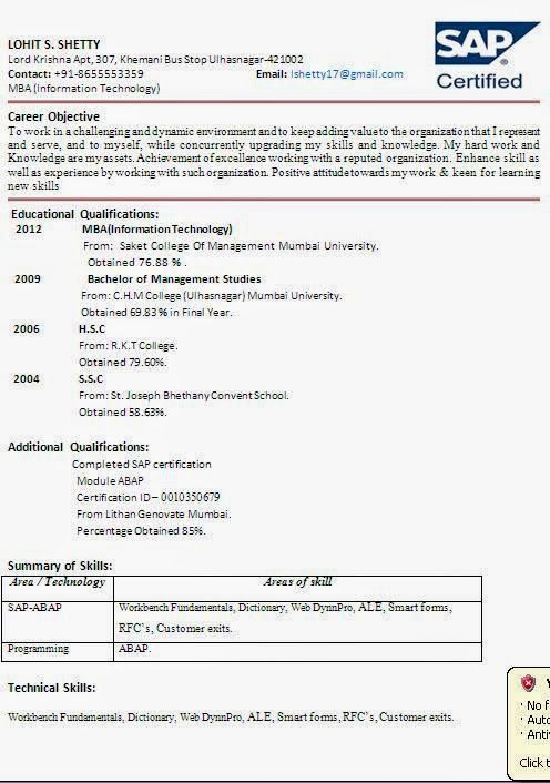 curriculum vitae em português Sample Template Example ofExcellent - sap abap resume