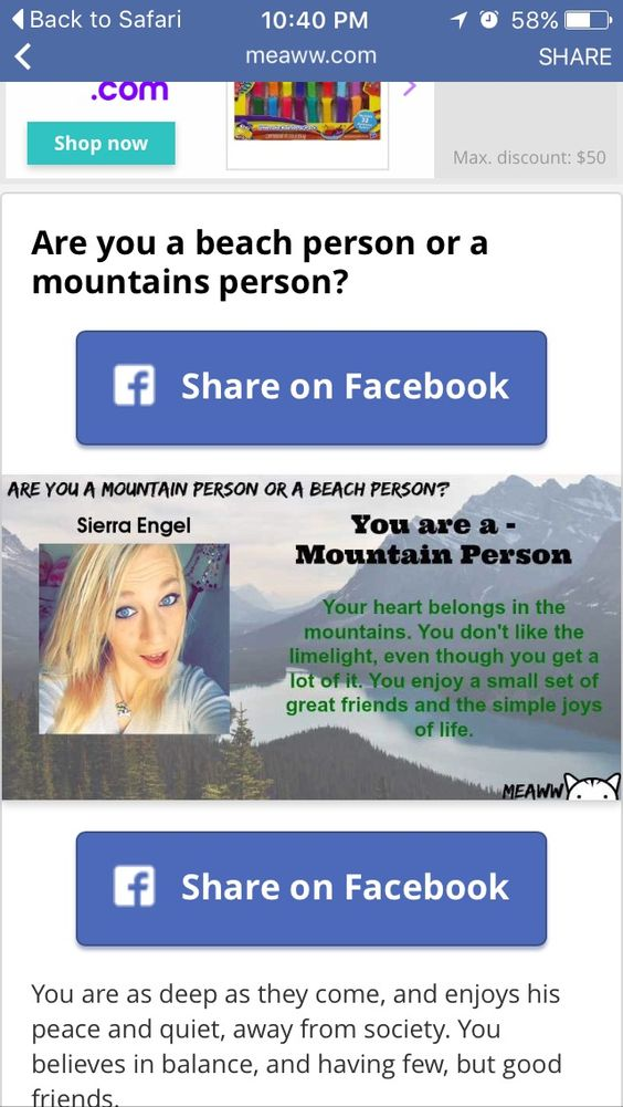 Are you a beach person or a mountain person?   It's all in the name 🏔