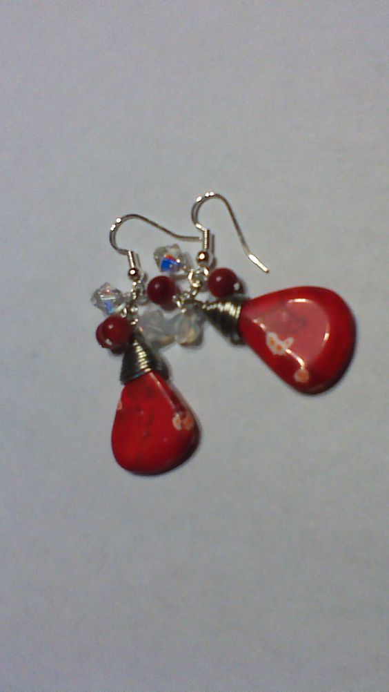 dyed magnesite, coral and Swarovski crystals