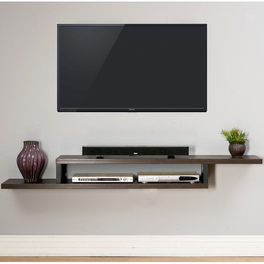 ascend 72 asymmetrical wall mounted tv component shelf. Black Bedroom Furniture Sets. Home Design Ideas