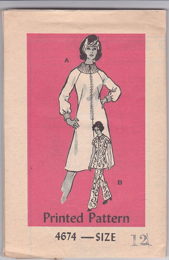 SALE 70s Mod Sheath A-line Dress Tunic Pants Bell Sleeves Size 12 Bust 34 Vintage Sewing Pattern Mail Order 4674 Complete Uncut