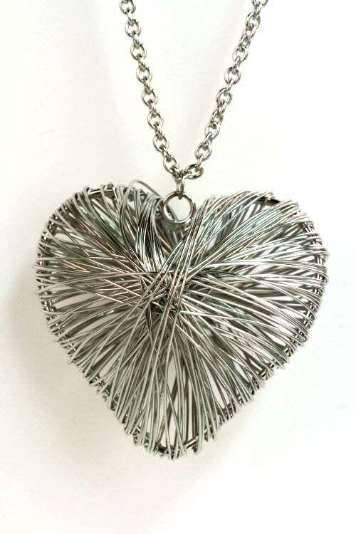 $9.00 20 inch silver spun heart necklace pendant FREE SHIPPING!!