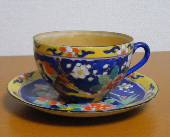Made in Japan;  plums and camellia pattern