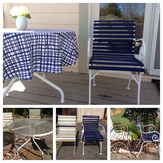 Vinyl Furniture Outdoor: Patio Table Chairs Re-do. Before And After Dated Patio