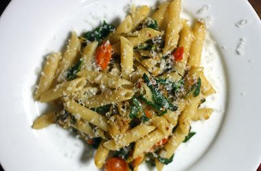 Penne with Fried Zucchini, Sun Golds, and Arugula — Punchfork