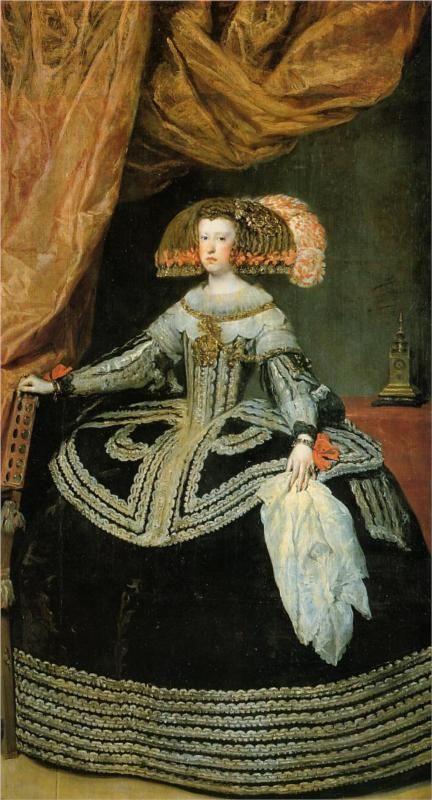 Diego Velázquez (Spanish 1559–1660) [Baroque, Portrait] Queen Mariana, 1652-1653. Museo del Prado, Madrid.