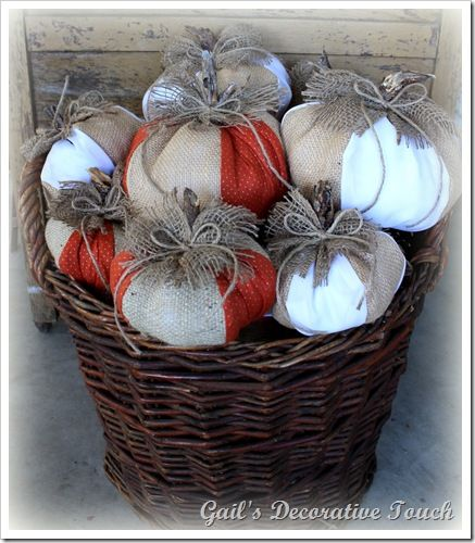 fabric pumpkins by Gail's Decorative Touch - so dang cute!