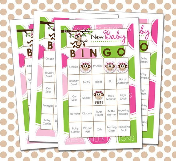 Baby Shower Bingo Includes 30 Cards Monkey Themed - Instant Download