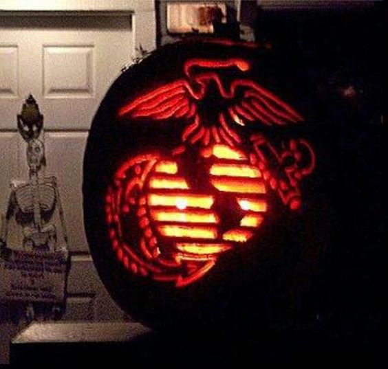 Usmc pumpkin i think i 39 m gonna try it rah marine for Achmed the dead terrorist halloween decoration