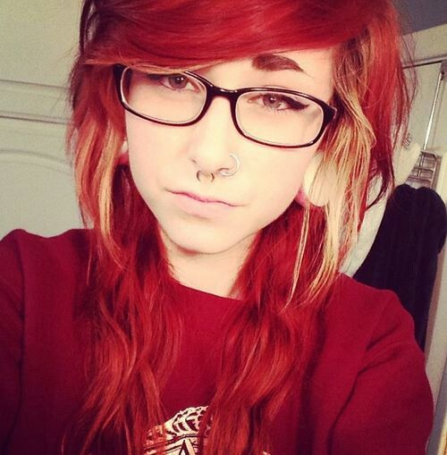 Red with Blonde. ♥ | Bright Red Hair | Pinterest | Bang