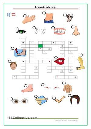 Feuille de travail pour pratiquer les vocabulaire concernant aux parties du corps. - Fiches FLE