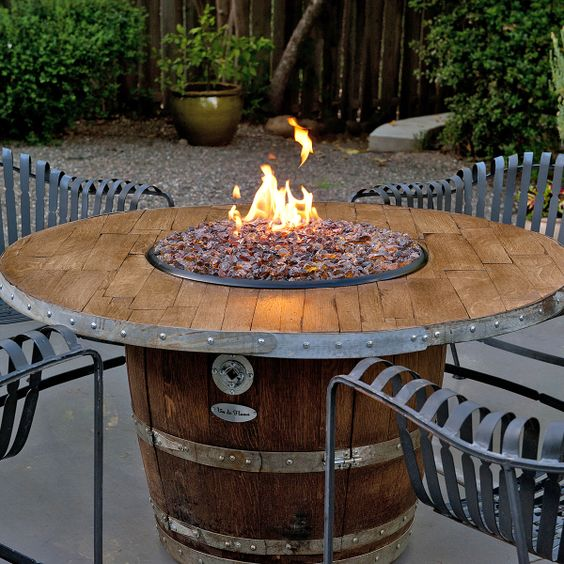 Reserve wine barrel fire pit table diy chair wine for Wine barrel chair diy