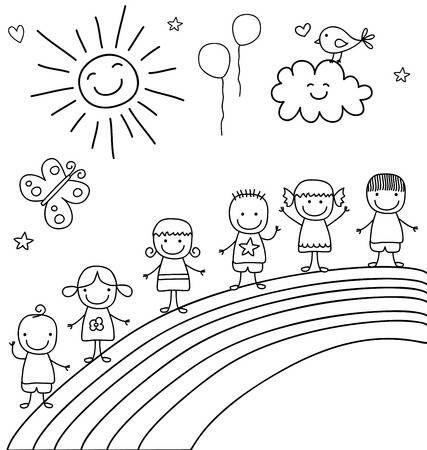 Bambini Su Arcobaleno Disegno Figura Stilizzata Immagini Di Bambini Progetti Artistici Per Bambini