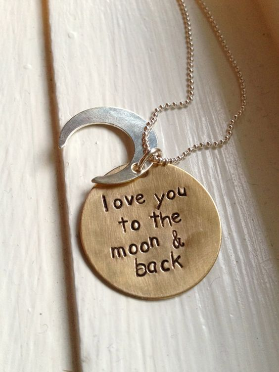 Moon necklace i love you to the and back daughter