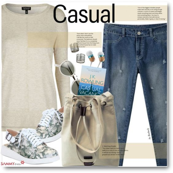 Casual by beebeely-look on Polyvore featuring mode, Topshop, casual, jeans…