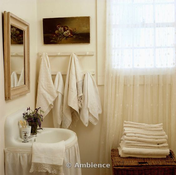 cottage style shower curatins | ... cottage bathroom with white curtain below basin and lace curtain on