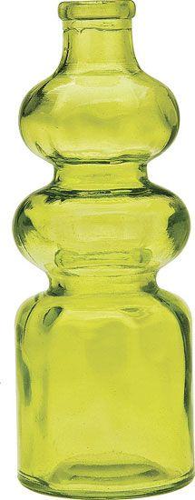 Green Decorative Glass Bottle (genie design) 7 inches tall