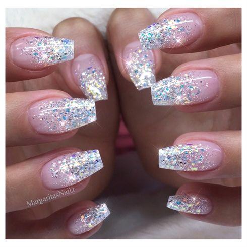 Coffin Nails Glitter Ombre