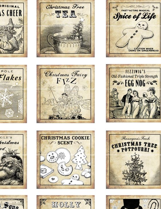 antique christmas potion labels i 2x2 inch digital collage sheet inchies 50mm square tea frosty. Black Bedroom Furniture Sets. Home Design Ideas