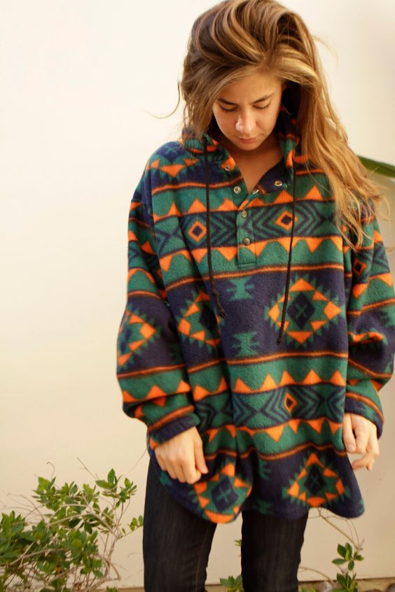 90s SLOUCHY ikat style parka SOUTHWEST oversize large FLEECE sweatshirt jacket. $45.00, via Etsy.
