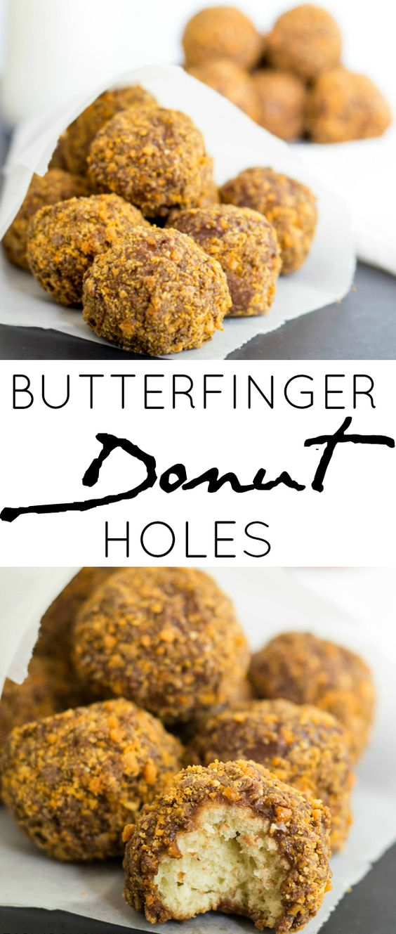Butterfinger Donut Holes are delicious cake donuts dipped in poured chocolate frosting and coated in crushed Butterfingers.