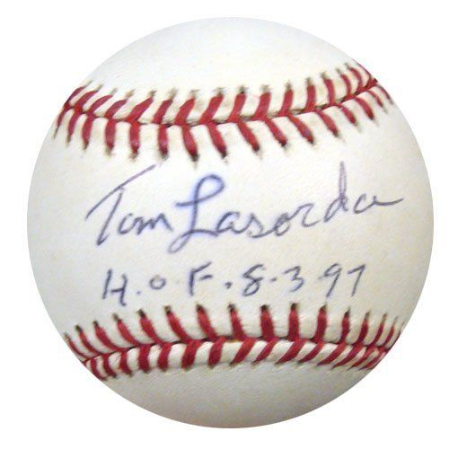 Tom Lasorda Autographed Signed NL Baseball HOF 8-3-97 PSA/DNA #S64767 . $79.00. This is an Official National League baseball that has been hand signed by Tom Lasorda. This autograph is certified authentic by PSA/DNA and comes with their sticker and matching certificate of authenticity.