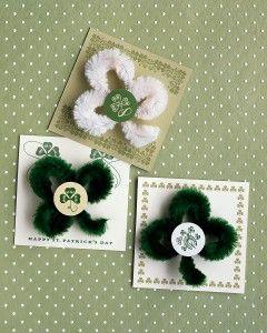 St. Patrick's Day pins. DIY. From Martha Stewart at @MarthaStewartLiving.