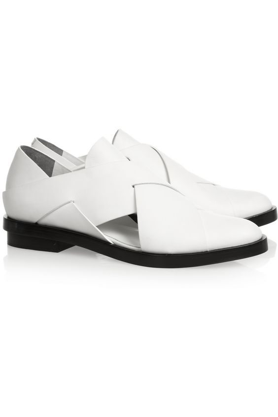 Cut Cost Alexander Wang Leather White Morgan Cutout Loafers