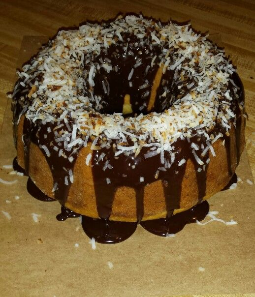 Coconut Bundt Cake with chocolate frosting