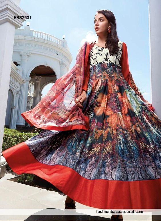 Megnificent Multicolor Cotton Anarkali Suit