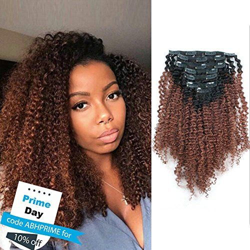 3c 4a Afro Curly Ombre Hair Extensions Clip Ins With Images