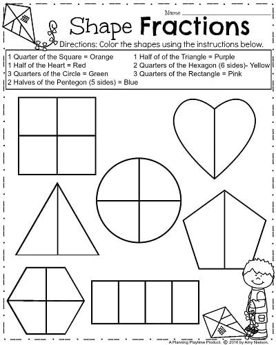 Spring Math Worksheets For First Grade Geometry Shape Fractions First Grade Worksheets Fractions Worksheets First Grade Math Worksheets