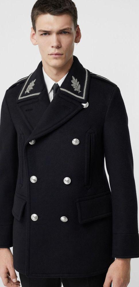 A Burberry Military Inspired Pea Coat, Fashion Brand Pea Coat