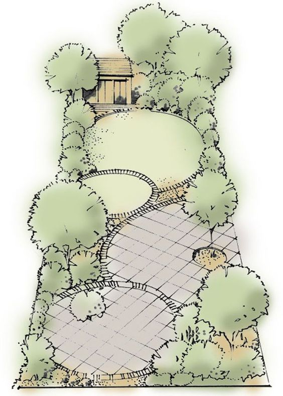 Curves add interest: A simple series of four circles, some paving, some lawn, on different levels create a practical easy maintained suburban garden