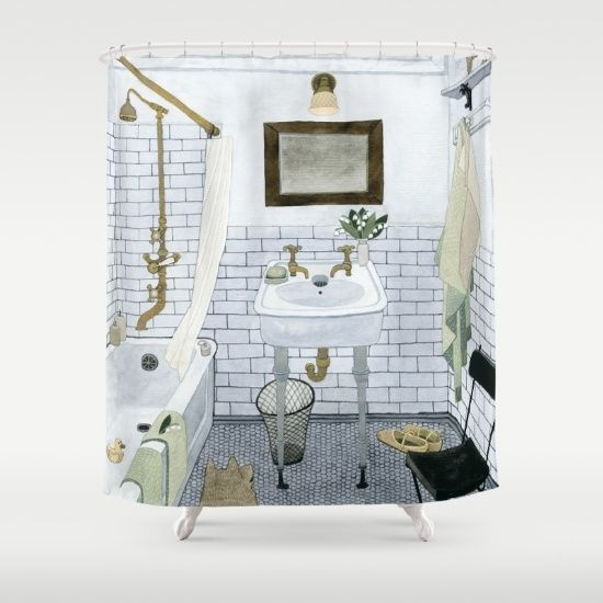 Buy Shower Curtains featuring In The Bathroom by Yuliya. Made from 100% easy care polyester our designer shower curtains are printed in the USA and feature a 12 button-hole top for simple hanging.