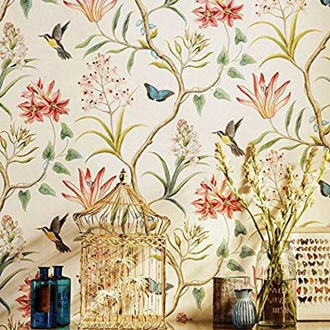 American Country Rustic Peel And Stick Wallpaper Roll Vintage Floral Non Woven Self Ahesi Wall Art Decor Living Room Vintage Flowers Wallpaper Rustic Wallpaper
