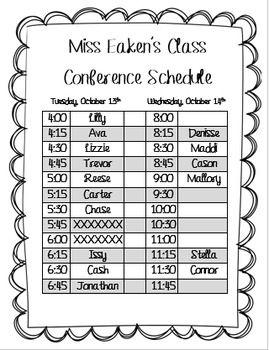 Parent Teacher Conference Schedule FREEBIE! (Editable too!)
