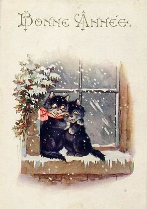 French Happy New Year postcard cats in window: