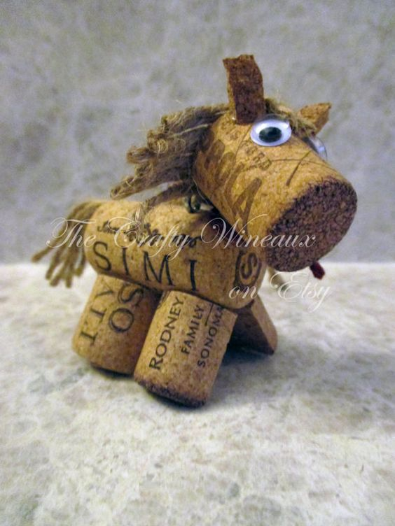 Rústico Pony caballo de la guita y corcho Adorno ornamento