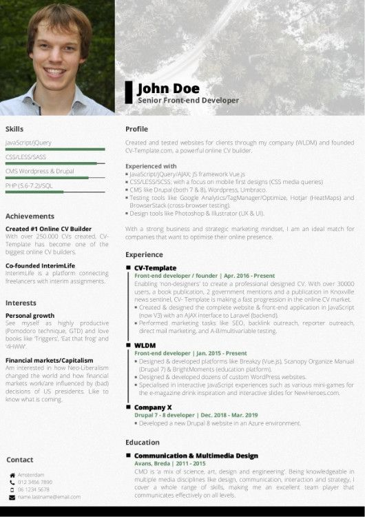Awesome Fre Cv Template Idea Choose Your Cv Template Free Online