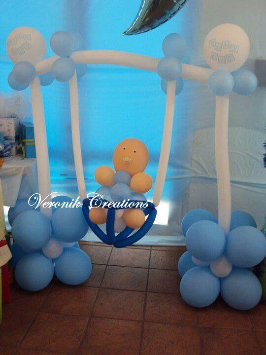 Decoracion con globos para baby shower hombre - Decoracion con bombas para baby shower ...