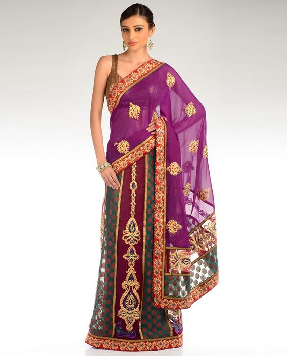Dark Teal, Aubergine and Violet Lengha Sari - Exclusively In