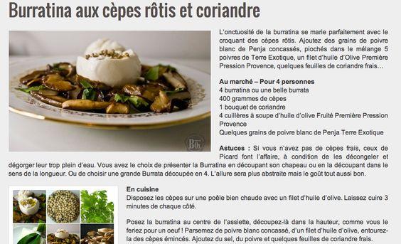 Burratina aux cèpes RECETTES Pinterest