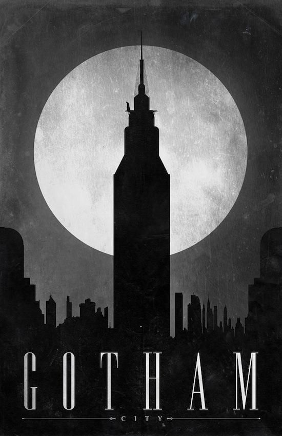 Well no city, except for Gotham. | 19 Gorgeous Retro Travel Posters To Fantasy Destinations