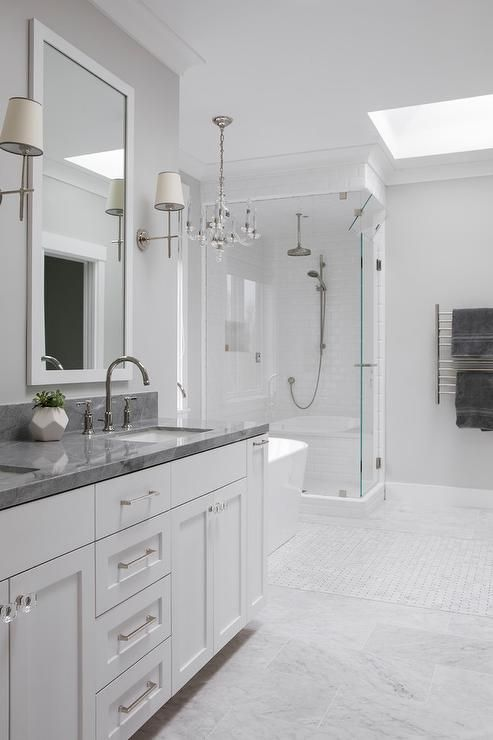 Luxurious And Spacious This White And Gray Master Bathroom