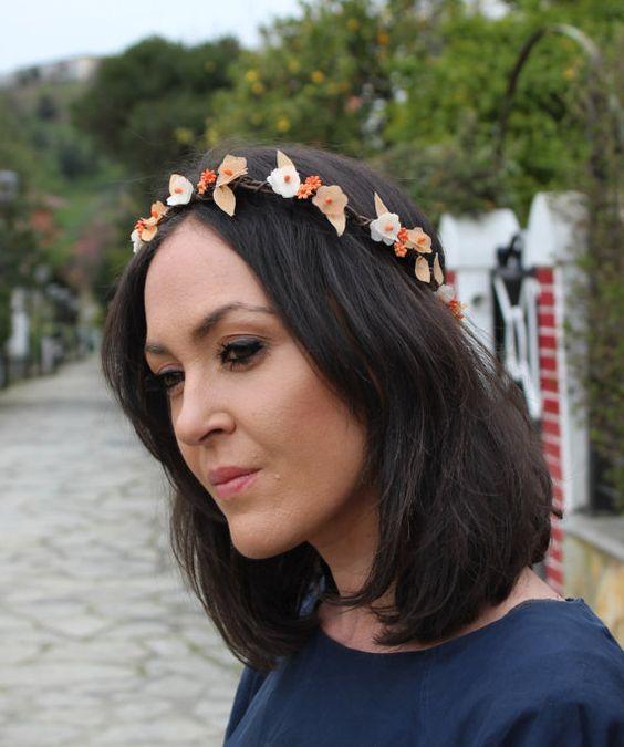 corona de flores naranjas tiara flores pequeñas por Lolacoqueta