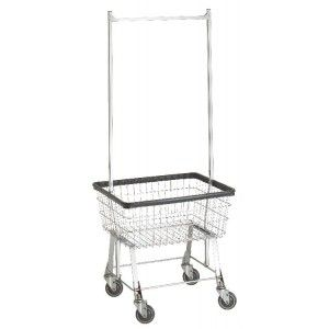 Wire Laundry Carts | Laundry Hampers | Economy Laundry Cart with Double Pole Rack