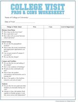 Worksheets College Worksheets college visit checklist worksheet familyeducation com com
