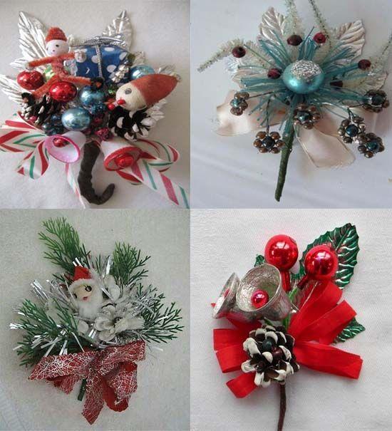 50s Red Velvet Dress How To Make A Vintage Christmas Corsage Vintage Christmas Ornaments Christmas Crafts Vintage Christmas