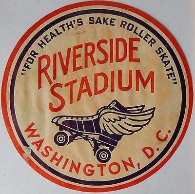 Vtg RIVERSIDE STADIUM Roller Rink Decal WASHINGTON, D.C. Old Winged Skate Label